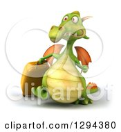 Clipart Of A 3d Traveling Green Dragon Walking With Rolling Luggage Royalty Free Illustration
