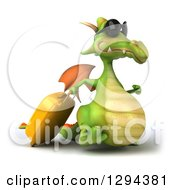 Clipart Of A 3d Traveling Green Dragon Wearing Sunglasses And Walking To The Right With Rolling Luggage Royalty Free Illustration