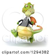 Clipart Of A 3d Green Business Dragon Running Royalty Free Illustration