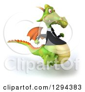 Clipart Of A 3d Green Business Dragon Running To The Right Royalty Free Illustration