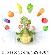 Clipart Of A 3d Green Dragon Lookig Up And Juggling Produce Royalty Free Illustration