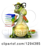 Clipart Of A 3d Bespectacled Green Dragon Giving A Thumb Up And Holding A Stack Of Books Royalty Free Illustration