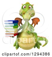 Clipart Of A 3d Green Dragon Flying Holding And Pointing To A Stack Of Books Royalty Free Illustration