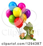 Clipart Of A 3d Green Dragon Holding Party Balloons Over A Sign Royalty Free Illustration