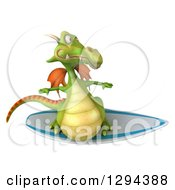 Clipart Of A 3d Green Dragon Surfing Royalty Free Illustration