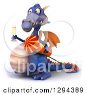 Clipart Of A 3d Purple Dragon Facing Left And Celebrating New Years With A Firework Rocket And Champagne Royalty Free Illustration by Julos
