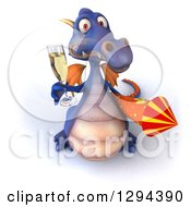 Clipart Of A 3d Purple Dragon Looking Up And Celebrating New Years With A Firework Rocket And Champagne Royalty Free Illustration by Julos