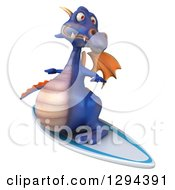 Clipart Of A 3d Purple Dragon Surfing 2 Royalty Free Illustration