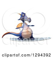 Clipart Of A 3d Purple Dragon Surfing Royalty Free Illustration