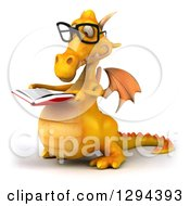 Clipart Of A 3d Bespectacled Yellow Dragon Reading A Book And Facing Left Royalty Free Illustration