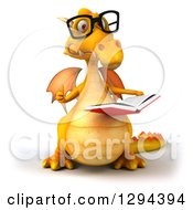Clipart Of A 3d Bespectacled Yellow Dragon Reading A Book And Giving A Thumb Up Royalty Free Illustration