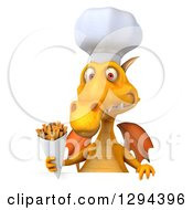 Clipart Of A 3d Yellow Dragon Chef Holding French Fries Over A Sign Royalty Free Illustration by Julos
