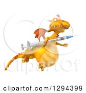 Clipart Of A 3d Yellow Dragon Nurse Flying To The Right With A Vaccine Syringe Royalty Free Illustration