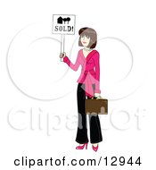 Clipart Graphic Illustration Of A Young Beautiful Female Real Estate Agent Realtor Holding A Sold Sign And A Briefcase by Rosie Piter