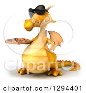 Clipart Of A 3d Yellow Dragon Wearing Sunglasses Facing Slightly Left And Holding A Pizza Royalty Free Illustration by Julos