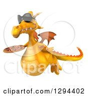 Clipart Of A 3d Yellow Dragon Wearing Sunglasses Flying To The Left And Holding A Pizza Royalty Free Illustration by Julos