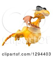 Clipart Of A 3d Yellow Dragon Wearing Sunglasses Flying To The Right And Holding A Pizza Royalty Free Illustration by Julos