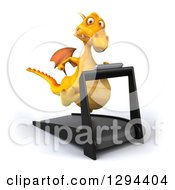 Clipart Of A 3d Yellow Dragon Running On A Treadmill Royalty Free Illustration by Julos