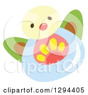 Clipart Of A Cute Happy Water Drop Character With A Flower Royalty Free Vector Illustration by Cherie Reve