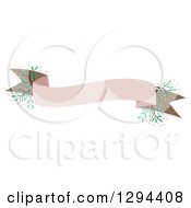 Clipart Of A Pastel Pink And Brown Banner Ribbon With Flowers Royalty Free Vector Illustration