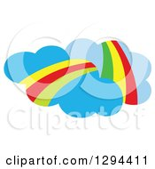 Clipart Of Blue Clouds With Rainbows Royalty Free Vector Illustration by Cherie Reve