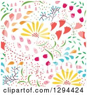 Seamless Colorful Spring Flower Pattern Background