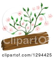 Clipart Of A Wood Log And Pink Flowers Royalty Free Vector Illustration by Cherie Reve