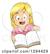 Clipart Of An Excited Blond White School Girl Pointing And Holding Up An Open Book Royalty Free Vector Illustration