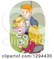 Clipart Of A Happy Red Haired Father And Blond Mother Teaching Thier Daughter How To Identify Shapes With Cards Royalty Free Vector Illustration by BNP Design Studio