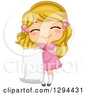 Clipart Of A Cute Happy Blond White School Girl Holding A Blank Piece Of Paper Royalty Free Vector Illustration by BNP Design Studio
