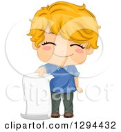 Clipart Of A Cute Happy Strawberry Blond White School Boy Holding A Blank Piece Of Paper Royalty Free Vector Illustration