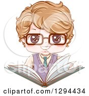 Clipart Of A Happy Dirty Blond White School Boy Wearing Glasses And Holding An Open Large Book Royalty Free Vector Illustration
