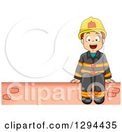 Clipart Of A Happy Brunette Fire Fighter Boy Sitting On A Brick Wall With Text Space To The Left Royalty Free Vector Illustration