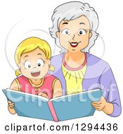 Happy White Senior Grandmother Reading A Story Book To Her Blond Granddaughter
