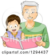 Clipart Of A Happy White Senior Grandfather Reading A Story Book To His Brunette Granddaughter Royalty Free Vector Illustration