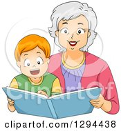 Clipart Of A Happy White Senior Grandmother Reading A Story Book To Her Red Haired Grandson Royalty Free Vector Illustration