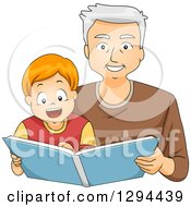 Clipart Of A Happy White Senior Grandfather Reading A Story Book To His Brunette Grandson Royalty Free Vector Illustration