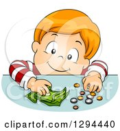 Clipart Of A Happy Red Haired White Boy Putting Coins And Cash Money On A Table Royalty Free Vector Illustration by BNP Design Studio