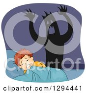 Clipart Of A Shadow Monster Behind A Scared White Boy Having A Nightmare Royalty Free Vector Illustration
