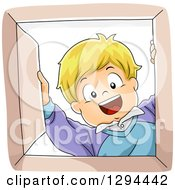 Clipart Of A Happy Blond White Boy Smiling Down Into A Box Royalty Free Vector Illustration
