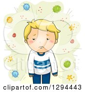 Clipart Of A Sick Blond White Boy With Germs And Viruses On Green Royalty Free Vector Illustration