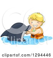 Clipart Of A Happy Blond White Boy Swimming With A Dolphin Royalty Free Vector Illustration by BNP Design Studio