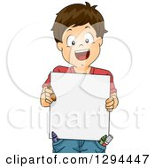 Clipart Of A Happy Brunette White Boy Holding An Art Board With Crayons In His Pockets Royalty Free Vector Illustration