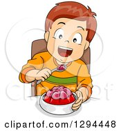 Clipart Of A Happy White Boy Eating A Gelatin Dessert Royalty Free Vector Illustration