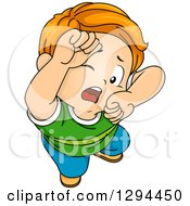 Clipart Of A Red Haired White Boy Looking Up And Guarding His Head With His Arms Royalty Free Vector Illustration