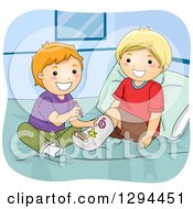 Clipart Of A Happy Red Haired White Boy Drawing On His Blond Best Friends Leg Cast On A Bed Royalty Free Vector Illustration