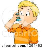 Blond White Boy Using An Asthma Inhaler