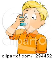 Clipart Of A Blond White Boy Using An Asthma Inhaler Royalty Free Vector Illustration by BNP Design Studio