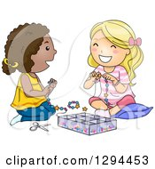 Clipart Of Happy White And Black Girls Playing With Beads And Making Jewelery Royalty Free Vector Illustration