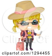 Clipart Of A Happy Blond White Girl Traveler In A Sun Hat Holding A Document And Standing With Rolling Luggage Royalty Free Vector Illustration by BNP Design Studio